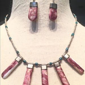 Jewelry - Peruvian Necklace Earrings Lilac Stone Sterling